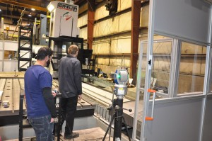 Large horizontal five axis machining center squared and calibrated with laser tracker